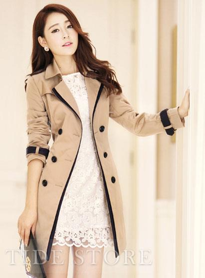 Handsome gentlewomanly slim korean outwear new arrival trench coat