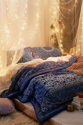 home accessory,boho,boho pattern,bedroom,bedding,pillow,tumblr bedroom,night,sleep,blue,purple,colorful