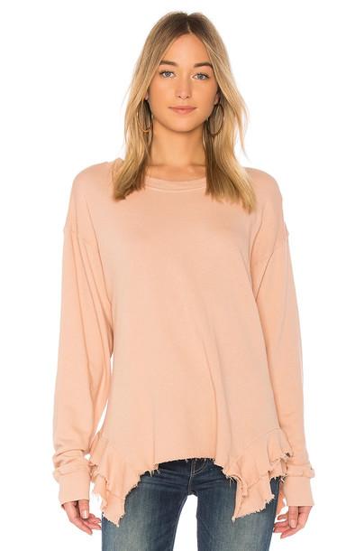 sweatshirt ruffle rose sweater