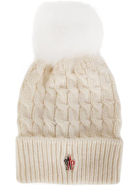 fur beanie pom pom beanie white hat