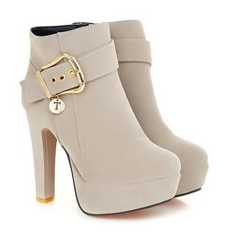 shoes boots beige heels nude fall outfits trendy fashion style winter outfits buckles platform shoes chunky sole