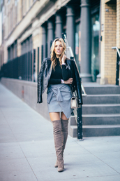 mindbodyswag,blogger,jacket,bag,skirt,top,shoes,thigh high boots,black leather jacket,wrap skirt,blue skirt