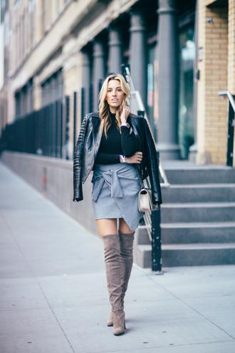 mindbodyswag blogger jacket bag skirt top shoes thigh high boots black leather jacket wrap skirt blue skirt