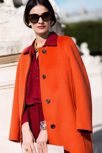 coat chic orange