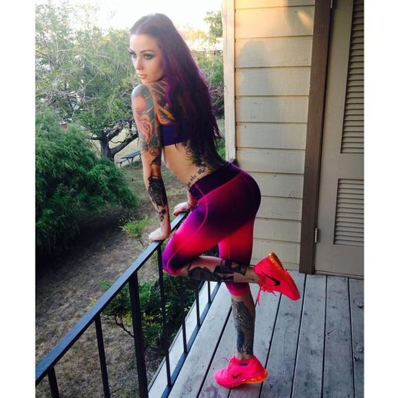 leggings ombre sportswear sport leggings capri leggings pink leggings purple leggings