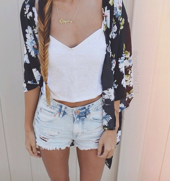 white tank blouse jeans cardigan summer outfits spring outfits denim blonde ripped shorts white crop top girly fashion outfits floral floral cardigan black cardigan hair braid white singlet