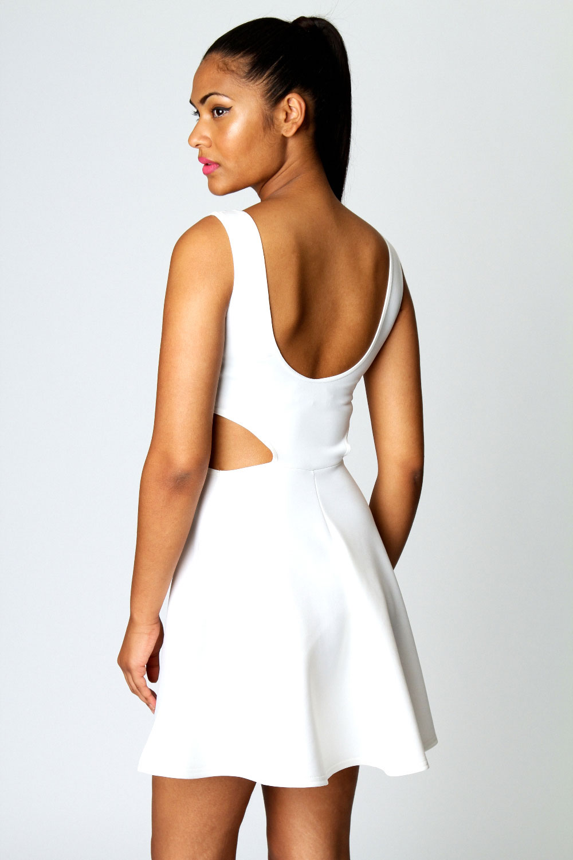 Boohoo Ashley Cut Out Sides Sleeveless Scoop Neck Skater Dress   eBay