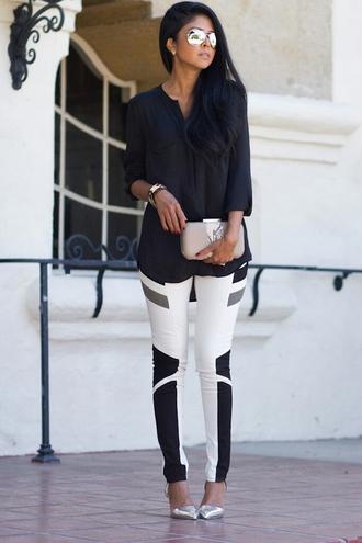 pants black white grey skinny geometric pattern