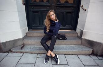 kenza blogger shoes pants sweater sunglasses bag