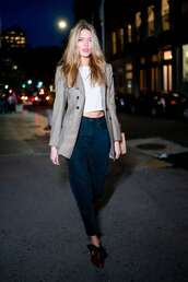 jacket,top,blazer,pants,celebrity,model off-duty,martha hunt,fall outfits