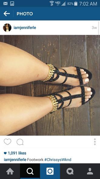 shoes cute sandals black sandals gold sequins black sequins