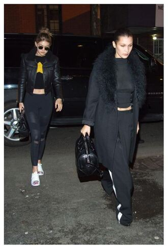 coat top gigi hadid bella hadid sweatpants crop tops all black everything jacket leggings bella hadid crop top