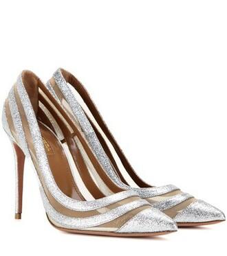 glitter embellished pumps silver shoes