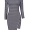 Enchanting stripe design round neck long sleeve dress