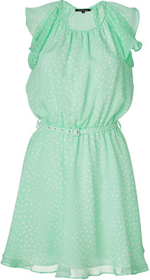 Tara jarmon mint green polka dot silk dress