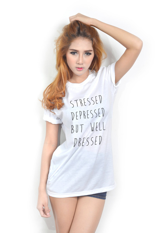 t-shirt t-shirt cute hipster clothes tumblr tumblr shirt new tip stressed depressed but well dressed