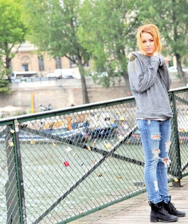 blouse miley cyrus sweater winter outfits vintage boots winter sweater winter coat jeans denim shoes