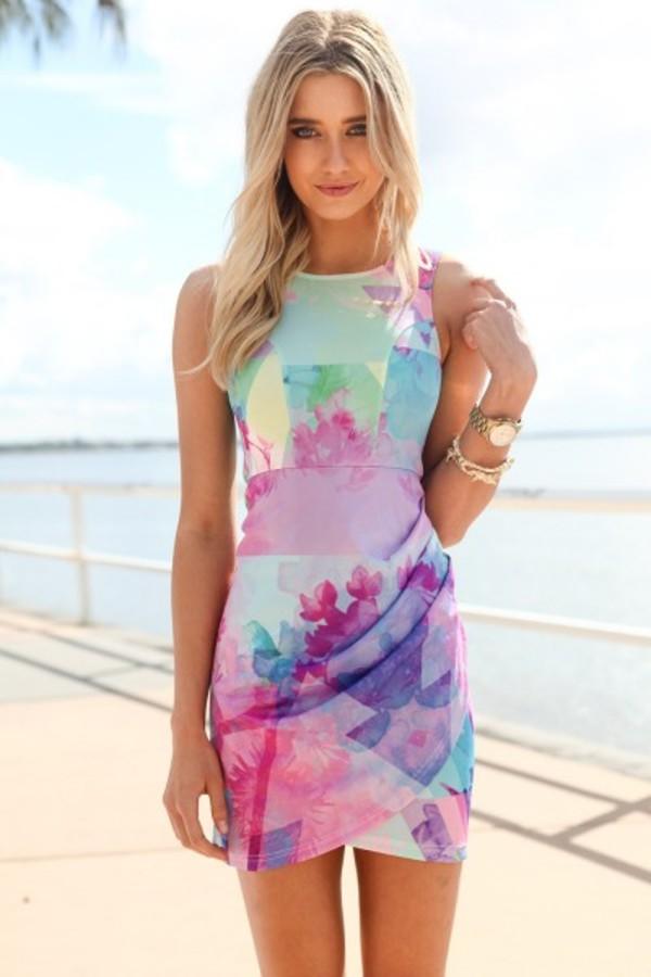dress ustrendy bodycon dress tiedye dress tie dye summer spring ustrendy dress