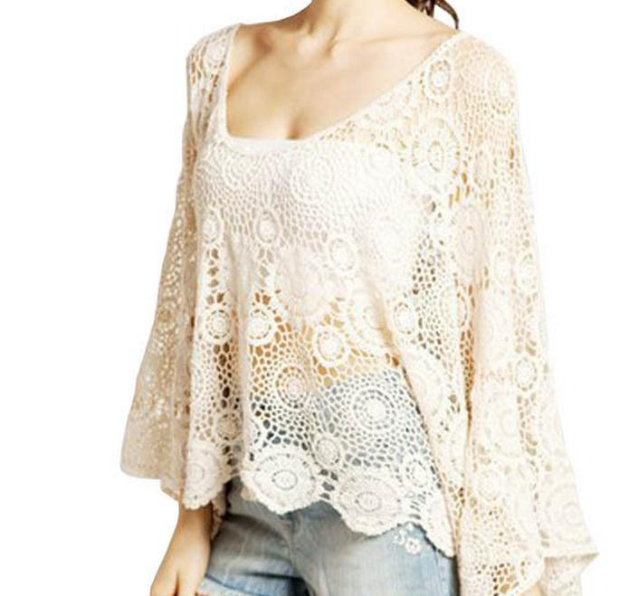 Fashion lace hollow out flower bat sleeve blouse