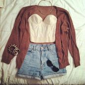 shorts,brown,corset top,gilet,cardigan,jewelry,black sunglasses,jeans,sweater,t-shirt,shirt,jacket,red jacket,crop tops,jewels,set bracelets,necklace,summer outfits,High waisted shorts,blouse,tank top,blue,white,short shirt,high waisted blue shorts,outfit,clothes,bustier,white bustier,sunglasses,cute!,shoes,denim shorts,fashion vibe,good vibes,strapless,black,shades,glasses,bracelets,spikes,spike,top,short,red,redcardigan,brown sweater,gold necklace,gold bracelet,spiked bracelet,back to school,burgundy,high waisted denim shorts,white strapless top,vlassers,gold,orange,rose,live,life,laugh,summer,peace,fashion,vintage,girly,tumblr,tumblr girl,top up,fashion outfit,fashion outfits,jewerly,crop top #cardigan,halter top,fall outfits,hipster,white crop tops,strapless shirt,jumpsuit