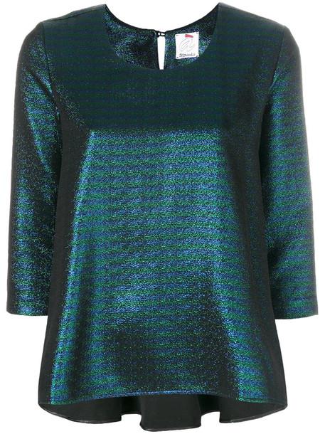 Ultràchic top women fit cotton grey metallic