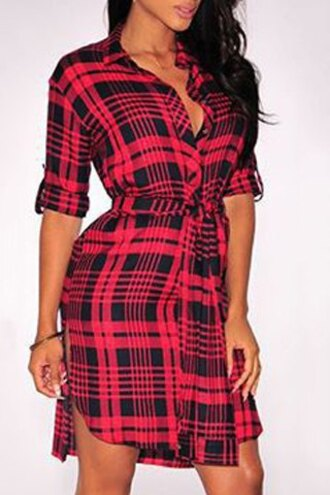 dress plaid red black pattern cute casual sexy fashion style