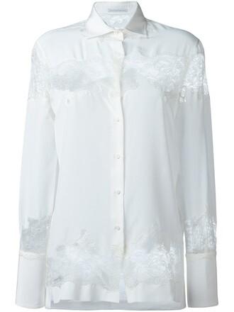 shirt lace shirt cut-out women lace white silk top