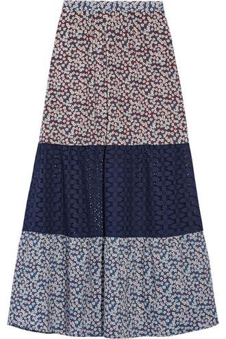 skirt floral cotton print crochet plum