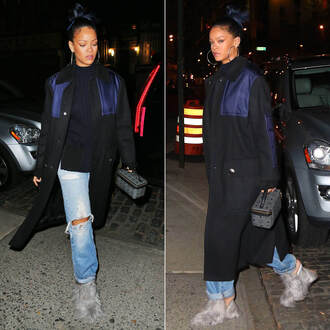 sweater coat mules rihanna fall outfits jeans shoes