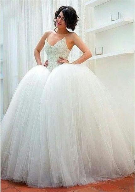 Dress: ball gown wedding dresses, 2016 wedding dresses, tulle skirt ...
