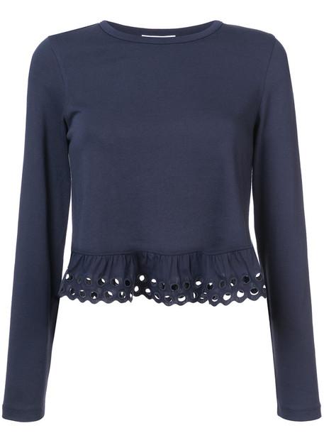 See by Chloe top ruffle women cotton blue