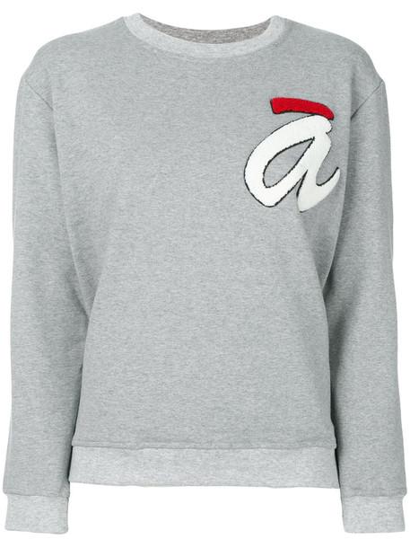 Ultràchic - crewneck logo jumper - women - Cotton/Spandex/Elastane - 46, Grey, Cotton/Spandex/Elastane
