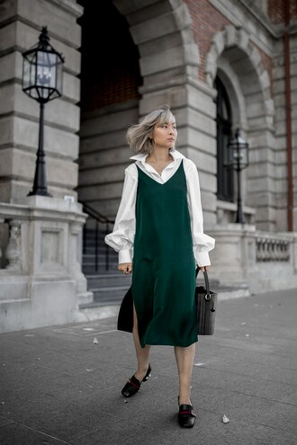 dress tumblr midi dress green dress slip dress slit dress shirt white shirt shoes pilgrim shoes gucci gucci shoes bag black bag emerald green work outfits office outfits
