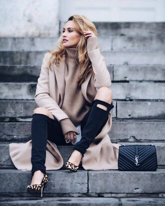 sweater tumblr beige sweater turtleneck turtleneck sweater camel camel coat denim jeans black jeans ripped jeans pumps pointed toe pumps high heel pumps leopard print bag black bag ysl ysl bag