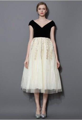 Contrast Velvet and Tulle Midi Gown Dress - Retro, Indie and Unique Fashion