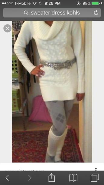 11629fb9e1cae1 sweater, kohls, sweater dress, white, white sweater, belt, leggings ...
