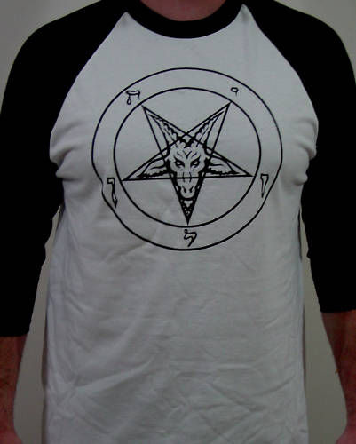 Pentagram Baphomet baseball shirt metal venom slayer