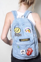 bag,patched denim,backpack,smiley,the beatles,ramones,rainbow
