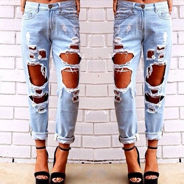 Women Distressed Destroyed Ripped Hole Straight-Leg Nine Points Boyfriend Jeans