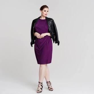 dress chloe marshall model curvy plus size violet dress midi dress jacket leather jacket black jacket sandals black sandals high heel sandals