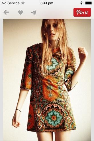 dress shift dress long sleeve dress long sleeves pattern multicolor orange dress tribal pattern tribal print dress