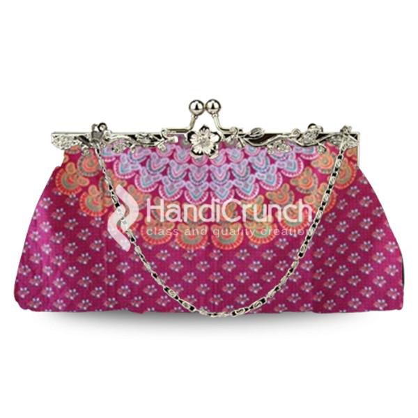 Mandala Pink Floral Clutch Handbag