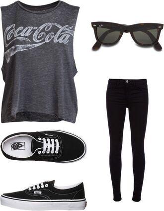 jeans coca cola black sunglasses black shirt black shoes black jeans t-shirt sunglasses