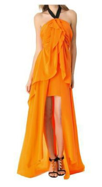 dress orange dress halter dress high low dress ruffle dress