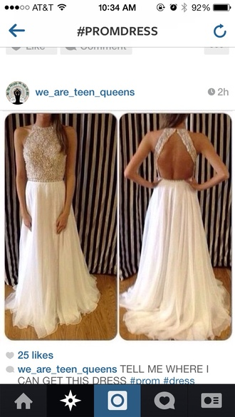 dress white dress backless dress long prom dress