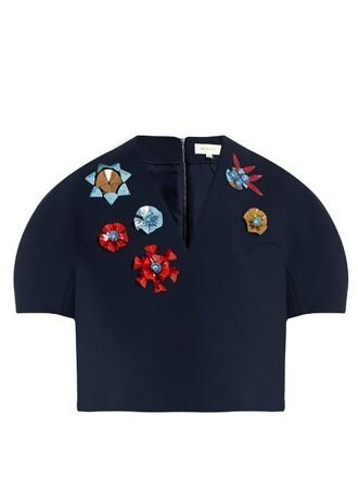 top embellished cotton navy