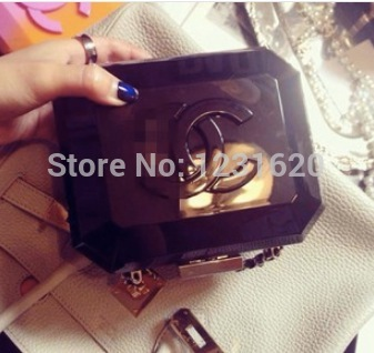 New european style woman handbag gradient color spell color shoulder bag acrylic clutch evening bag