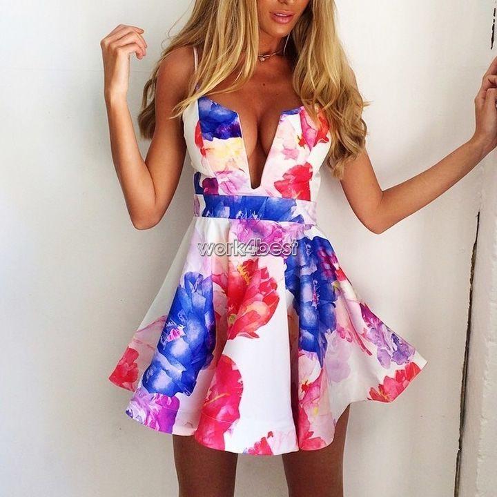 Womens Sexy Sleeveless V-Neck Plunge Floral Flower Print Mini Short Dress Skirts