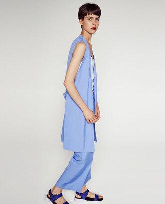 coat zara jacket zara summer outfits want need vest blue