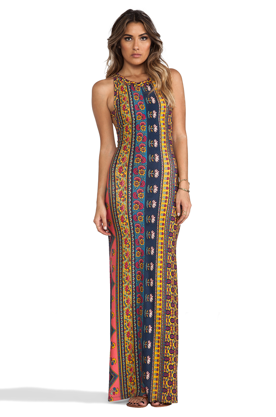 ROYALE Midnight Rambler Maxi Dress in Red Ethnic Floral from ...